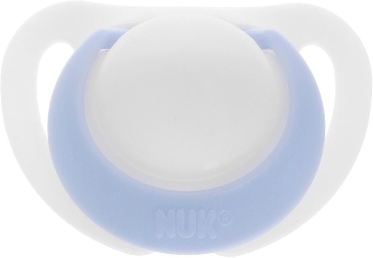 NUK Пустышка силиконовая ортодонтическая Genius от 0 до 2 месяцев цвет белый голубой