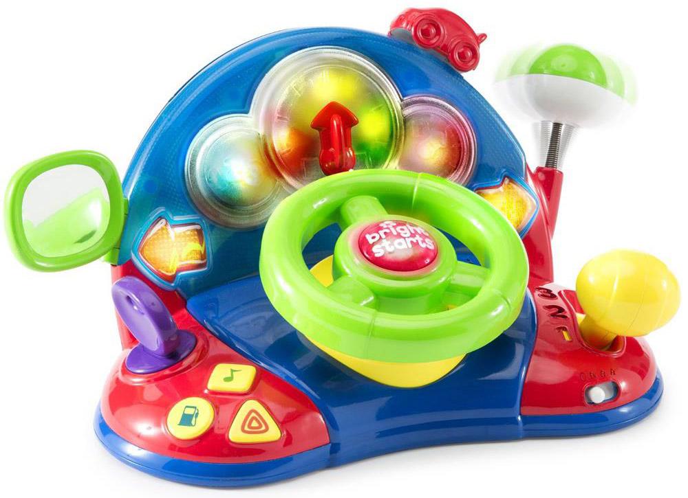 Bright Starts Развивающая игрушка Маленький водитель52178Развивающая игрушка Bright Starts Маленький водитель - функциональная игровая панель, который придется по нраву детям от 6 месяцев и до трех лет. С помощью игрушки ребенок сможет почувствовать себя в роли водителя. Вращая руль, переключая тумблер скоростей и нажимая на кнопки, ребенок будет радоваться реалистичному шуму двигателя, приятным мелодиям и мигающим разноцветным огонькам! Для того чтобы активировать игрушку, необходимо покрутить руль в любую сторону. Зеркало можно настроить, как это делает настоящий автогонщик. Игрушка работает в режимах - беззвучно, тихо, громко. Наклоните антенну и посмотрите как она возвращается на место. На панели ребенок найдет 3 кнопки с иконками, на которых изображены значки нота, треугольники, топливо. Все элементы на панели можно вращать и двигать. Когда ребенок начнет крутить руль, он услышит забавные песенки, стишки и порядковый счет. Рекомендуется докупить 3 батарейки напряжением 1,5V типа АА (товар комплектуется...