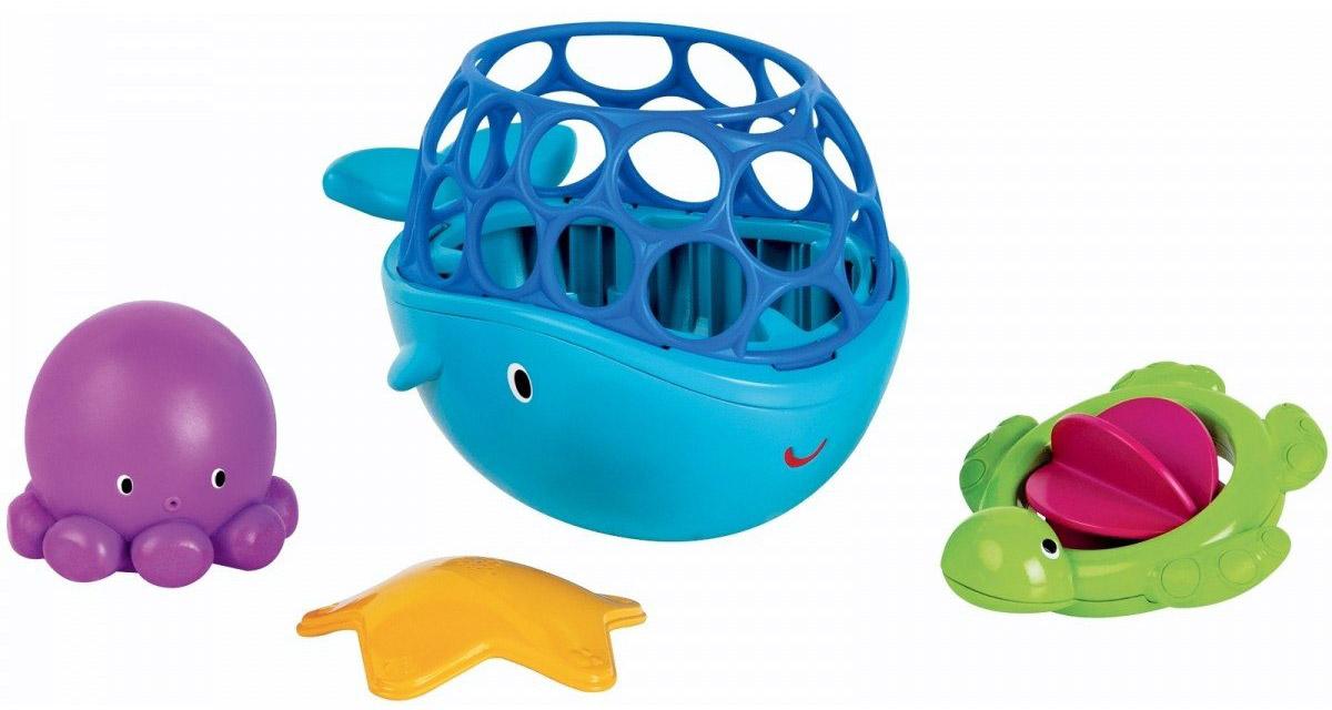 Oball Набор игрушек для ванной Морские друзья 4 шт10068Набор игрушек для ванной Oball Морские друзья обязательно порадуют малыша и сделают принятие ванной и водные процедуры забавным развлечением. Набор включает в себя кита, морскую звезду, осьминога и черепашку. Китом можно черпать воду и складывать в него другие игрушки. У черепашки вместо панциря - лопасти, которые можно крутить. Игрушки способствуют развитию мелкой моторики рук, воображения и фантазии. Игрушки удобно держать маленькими ручками.
