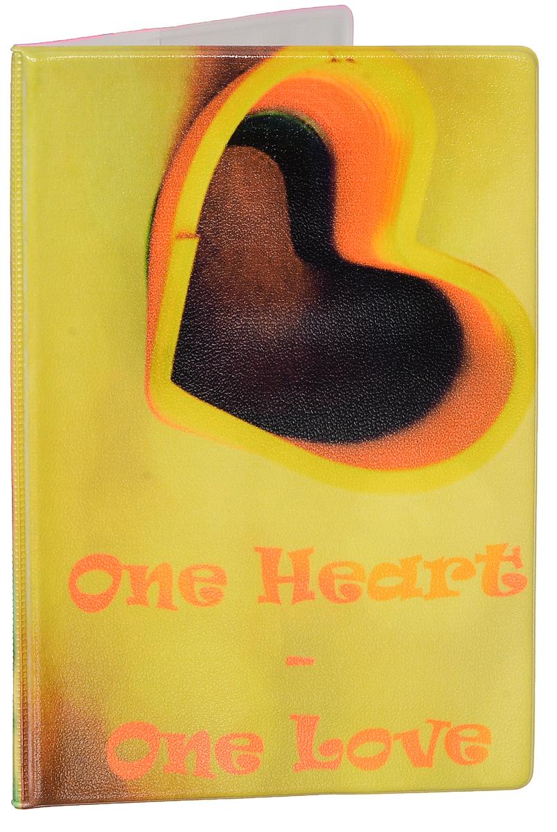 Обложка для паспорта женская Эврика Сердце, цвет: желтый, мультиколор. 9250492504Оригинальная обложка для паспорта Эврика понравится вам с первого взгляда. Она изготовлена из качественного ПВХ и оформлена оригинальным принтом с надписью One Heart - One Love. Внутри расположены прозрачные карманы для фиксации паспорта. Такая обложка не только поможет сохранить внешний вид вашего паспорта и защитить его от повреждений, но и станет стильным аксессуаром.