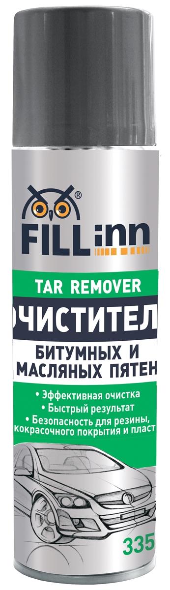 Очиститель битумных и масляных пятен Fill Inn, аэрозоль, 335 млFL015Очищает следы гудрона, масла, древесных смол, битумных пятен и других трудно удаляемых загрязнений с кузова, стекол, фар, решетки радиатора, бампера и хромированных деталей автомобиля. Удаляет невидимые очаги загрязнений из пор и микротрещин. Не требует приложения дополнительных усилий благодаря входящим в состав поверхностно-активным компонентам, расщепляющим органические соединения. Легко эмульгируется водой и смывается, не оставляя жирных пятен.
