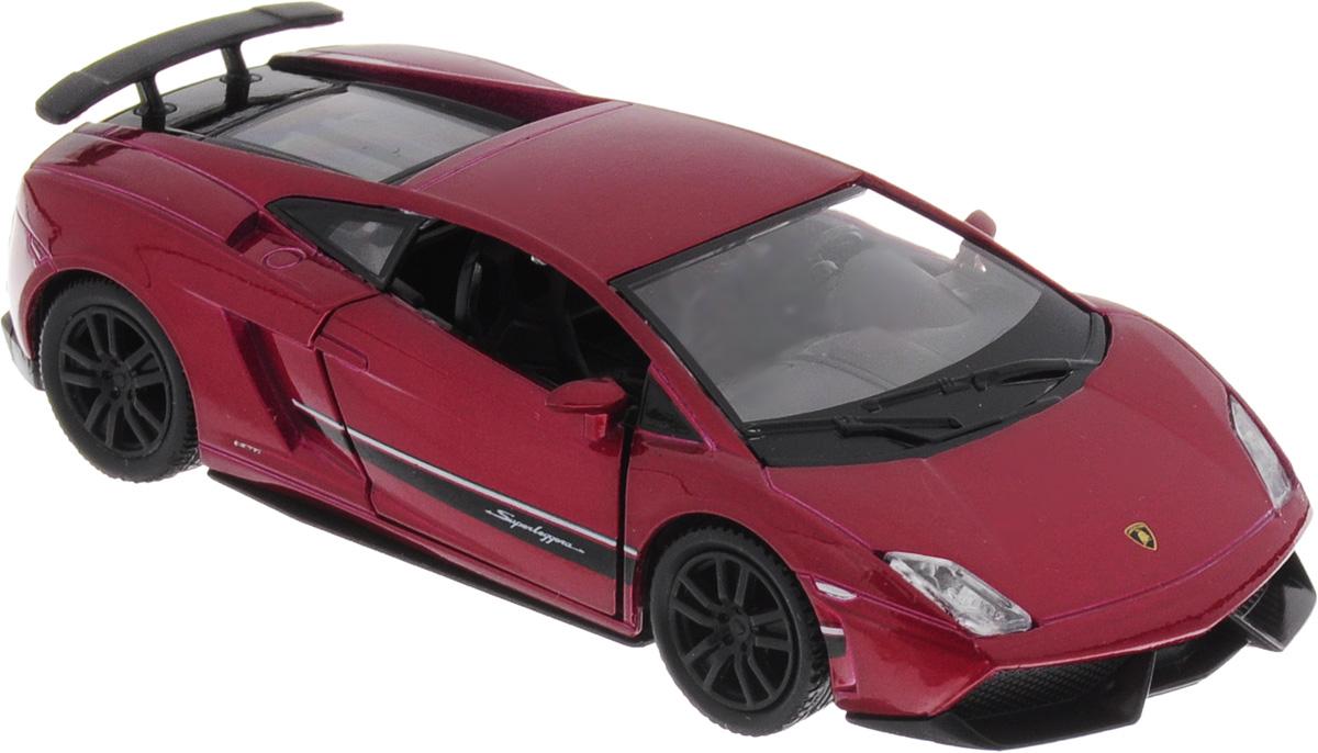 Uni-Fortune Toys Модель автомобиля Lamborghini Gallardo LP 570-4 Superleggera цвет красный металлик554998Z(F)Модель автомобиля Uni-Fortune Toys Lamborghini Gallardo LP 570-4 Superleggera, выполненная из пластика и металла, станет любимой игрушкой вашего малыша. Благодаря броской внешности, а также великолепной точности, с которой создатели этой масштабной модели передали внешний вид настоящего автомобиля, машинка станет подлинным украшением любой коллекции авто. Машинка оснащена инерционным механизмом. Необходимо отвести ее назад, затем отпустить - и она быстро поедет вперед. Шины обеспечивают отличное сцепление с любой поверхностью пола. Передние дверцы автомобиля открываются. Во время игры с такой машиной у ребенка развивается мелкая моторика рук, фантазия и воображение.