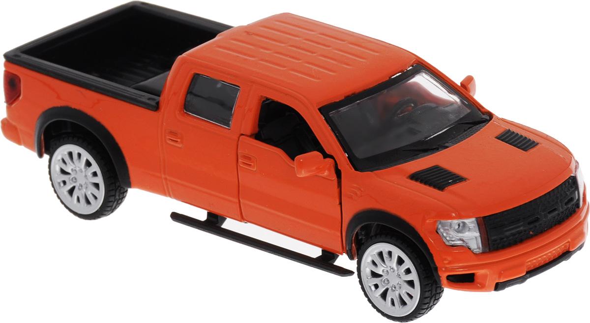 ТехноПарк Модель автомобиля Ford F-150 SVT Raptor цвет оранжевый67329_оранжевыйМодель автомобиля ТехноПарк Ford F-150 SVT Raptor, выполненная из металла с пластиковыми элементами, станет любимой игрушкой вашего малыша. Игрушка представляет собой модель автомобиля Ford F-150 SVT Raptor в масштабе 1/43. Передние дверцы модели открываются, а прорезиненные колеса обеспечивают надежное сцепление с любой поверхностью пола. Модель оснащена инерционным механизмом, что позволяет приводить машину в движение без использования батареек. Ваш ребенок увлеченно будет играть с этой машинкой, придумывая различные истории. Порадуйте его таким замечательным подарком!