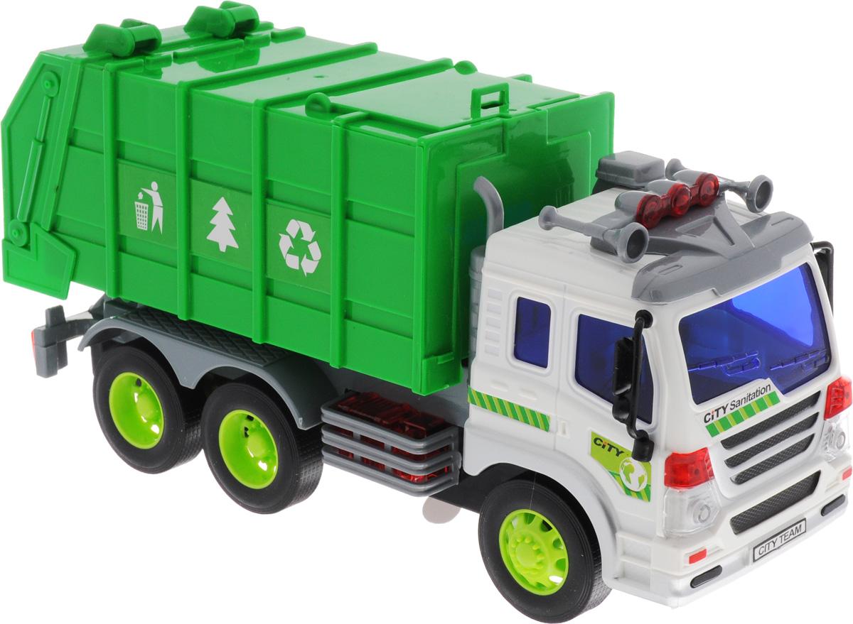 Dave Toys Мусоровоз инерционный33018Мусоровоз Dave Toys - это яркая машина, которая порадует любого мальчишку. Игрушка отлично подойдет для сюжетно-ролевых игр. Машина является уменьшенной копией настоящего мусоровоза. Мусоровоз предназначен для перевозки игрушечного мусора. Для этого у него имеется просторный кузов зеленого цвета, на который нанесены специальные отличающие знаки. Кабина водителя окрашена в белый цвет, а рядом с дверью можно найти кнопку, отвечающую за звуковые и световые эффекты. Благодаря встроенной инерционной системе машина может проехать некоторое расстояние самостоятельно, для этого необходимо слегка потянуть и отпустить. Ваш ребенок будет увлеченно играть с этой машинкой, придумывая различные истории. Порадуйте его таким замечательным подарком! Рекомендуется докупить 3 батарейки напряжением 1,5V типа AG13 (товар комплектуется демонстрационными).