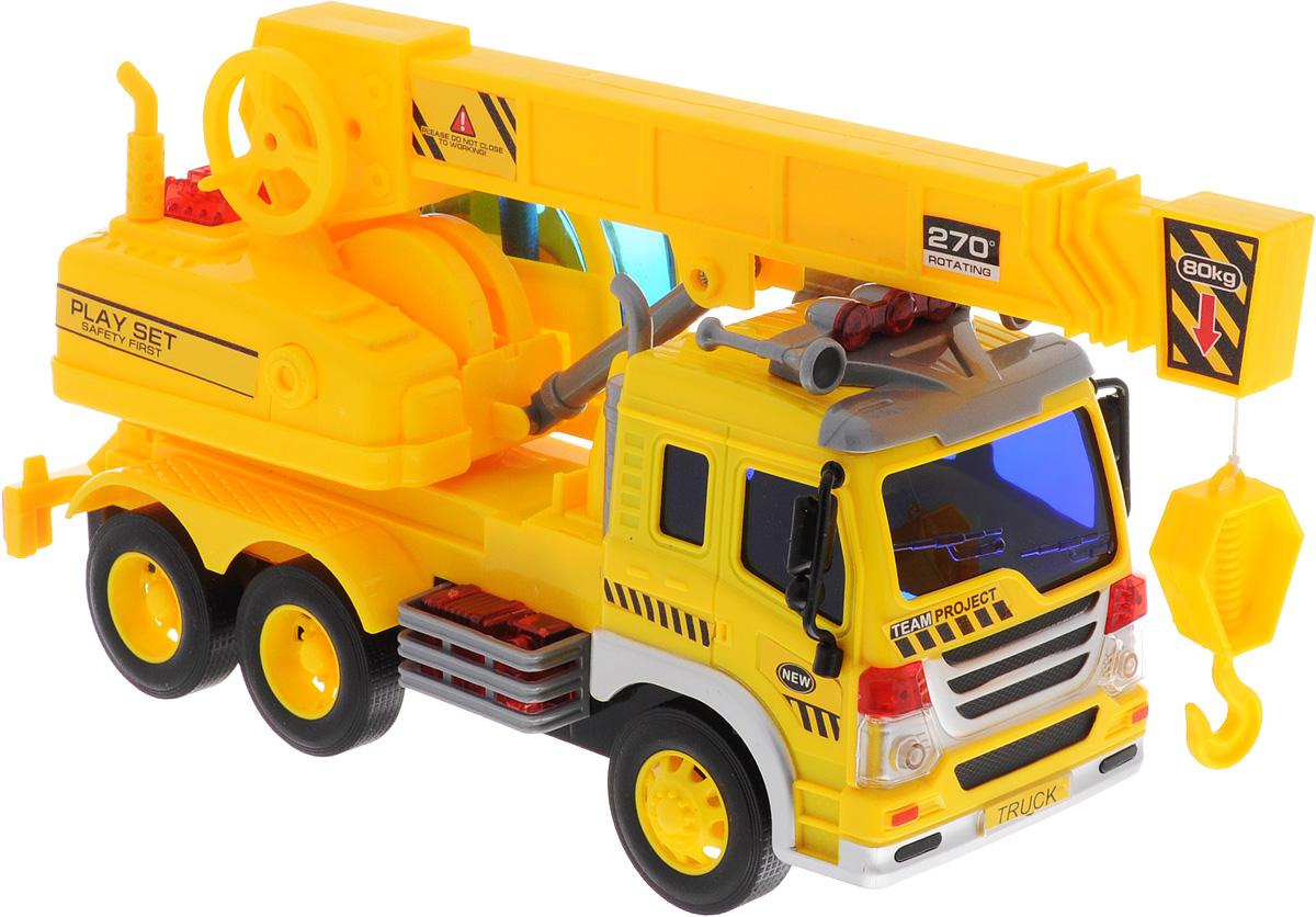 Dave Toy Кран инерционный цвет желтый33025Кран Dave Toy, выполненный из прочного пластика, станет любимой игрушкой вашего малыша. Игрушка представляет собой кран, оснащенный выдвигающейся стрелой с крюком. Игрушка оснащена инерционным ходом. Прорезиненные колеса обеспечивают надежное сцепление с любой поверхностью пола. Игрушка обладает световыми и звуковыми эффектами. Ваш ребенок будет увлеченно играть с этой машинкой, придумывая различные истории. Порадуйте его таким замечательным подарком! Рекомендуется докупить 3 батарейки напряжением 1,5V типа AG13 (товар комплектуется демонстрационными).