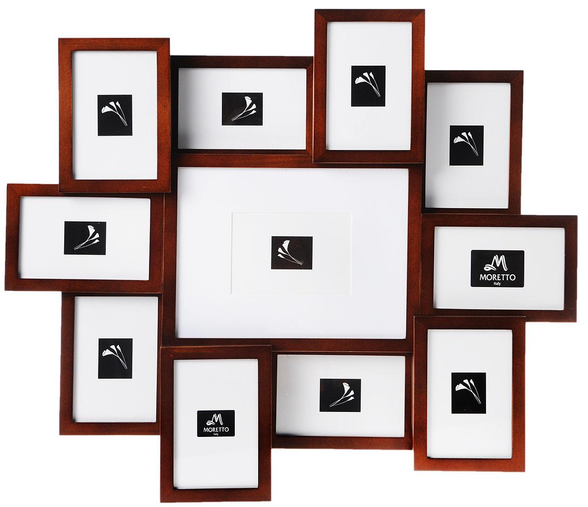 Фоторамка Moretto, на 11 фото238010Фоторамка Moretto отлично дополнит интерьер помещения и поможет сохранить на память ваши любимые фотографии. Фоторамка выполнена из дерева и представляет собой коллаж из 11 прямоугольных рамочек с вертикальным и горизонтальным расположением фотографий. Изделие подвешивается к стене. Такая рамка позволит сохранить на память изображения дорогих вам людей и интересных событий вашей жизни, а также станет приятным подарком для каждого. Размер рамок: - 10 фоторамок 12 х 17 см для фото 10 х 15 см, - фоторамка 28,5 х 22,2 см для фото 20 х 26 см, Общий размер фоторамки: 63 х 56 см.