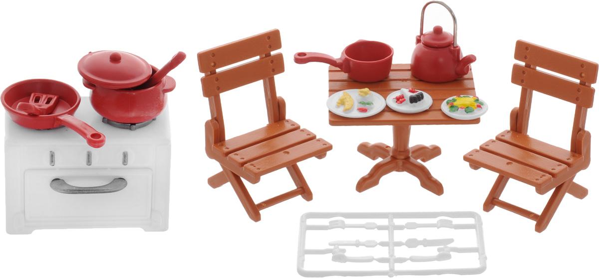 ABtoys Набор мебели для кухни и столовой цвет коричневый белый