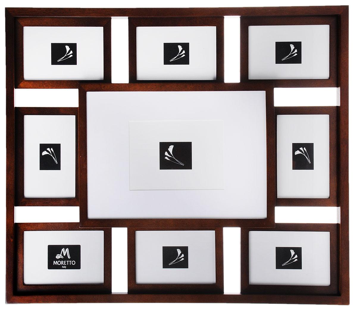 Фоторамка Moretto, на 9 фото238009Фоторамка Moretto отлично дополнит интерьер помещения и поможет сохранить на память ваши любимые фотографии. Фоторамка выполнена из дерева и представляет собой коллаж из 9 рамочек с вертикальным и горизонтальным расположением фотографий. Изделие подвешивается к стене. Такая рамка позволит сохранить на память изображения дорогих вам людей и интересных событий вашей жизни, а также станет приятным подарком для каждого. Размер рамок: - 8 фоторамок 17 х 12 см для фото 10 х 15 см, - 1 фоторамка 35 х 25 см для фото 21,6 х 31,1яысм, - 2 фоторамки 39 х 17 см для двух фото 10 х 15 см. Общий размер фоторамки: 60,5 х 51 см.