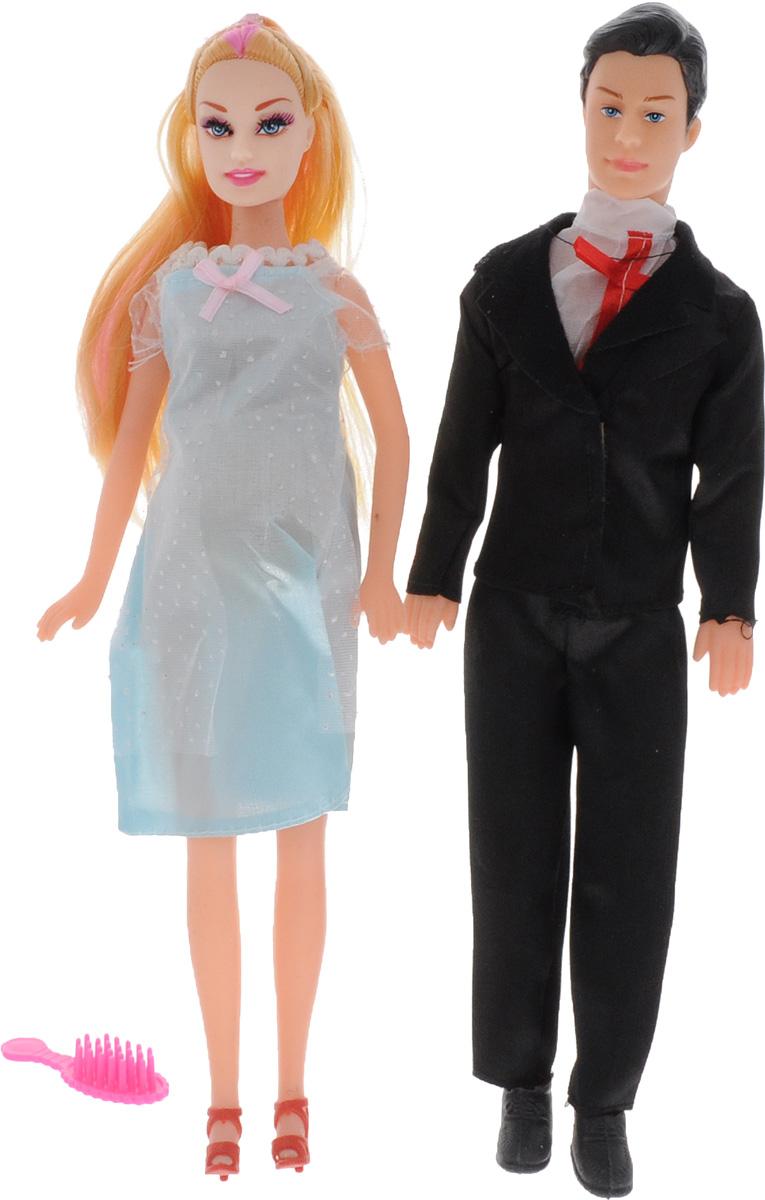 Shantou Набор кукол цвет одежды черный голубой 2 штJ114-H43081_черный, голубойНабор кукол Shantou поможет вашей малышке окунуться в волшебный семейный мир. В набор входят две куклы, выполненные в виде беременной девушки и ее жениха. Девушка одета в светло-голубое платье, жених - в черных костюм. Накладной животик куклы можно снять и появится кукла-малыш. В комплект также входит расческа, чтобы расчесывать длинные светлые волосы куклы. Ваша малышка с удовольствием будет играть с этим набором, придумывая различные истории.