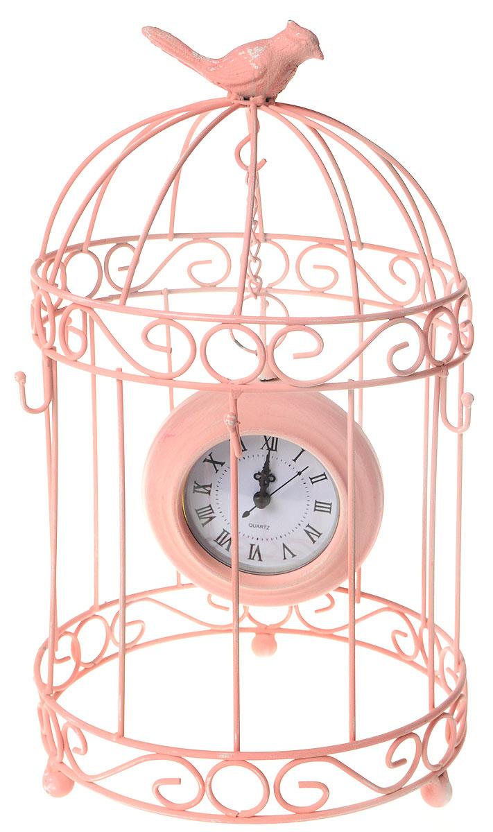 Часы настольные Русские Подарки Очарование прованса, 25 х 25 х 40 см60602Настольные кварцевые часы Русские Подарки Очарование прованса изготовлены из прочного металла. Изделие выполнено в виде клетки, внутри которой на цепочке висят часы. На клетке сидит птица. Настольные часы оригинального дизайна прекрасно оформят интерьер дома или рабочий стол в офисе. Часы работают от одной батарейки типа АА мощностью 1,5V (не входит в комплект). Диаметр изделия: 25 см. Высота изделия: 40 см. Диаметр часов: 12 см.