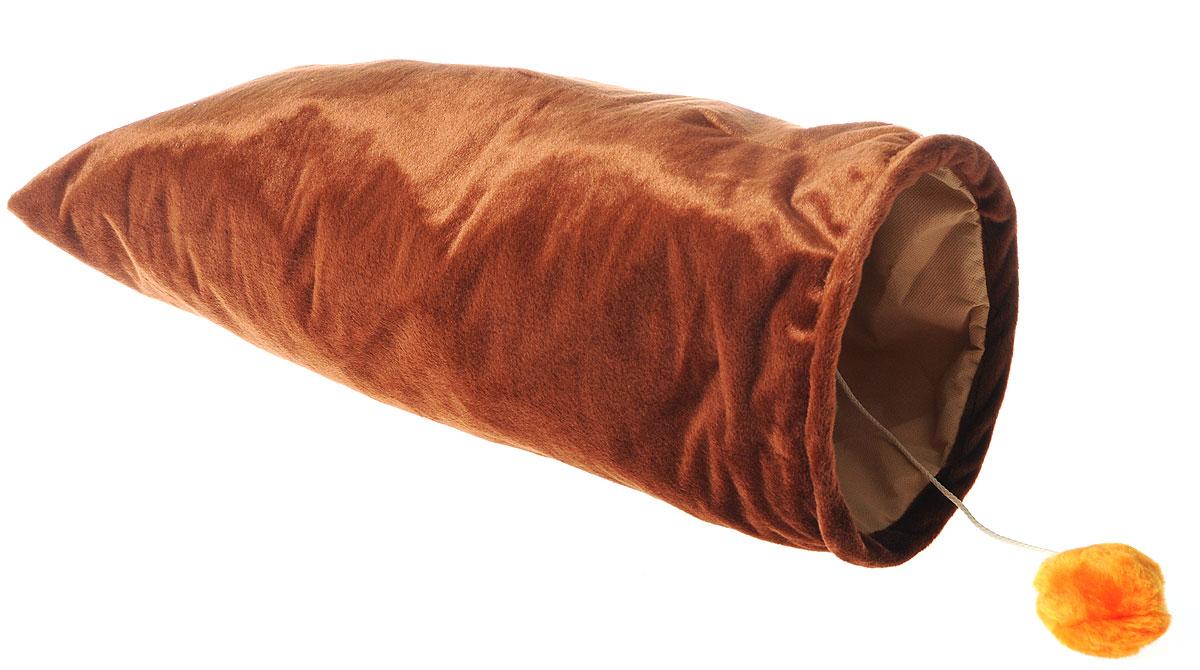 Карман для кошек ЗооМарк, с игрушкой, цвет: коричневый, длина 67 смт-02_коричневыйКарман ЗооМарк станет лучшим подарком для вашего любимца. Изделие выполнено из искусственного меха и оснащено игрушкой в виде двух бубенчиков. Мягкий, теплый карман с шуршащими стеночками надолго привлечет внимание животного, обеспечит интересным времяпровождением, а также даст возможность прятаться внутри от холода и посторонних взглядов. Длина кармана: 67 см. Диаметр кармана: 22 см.