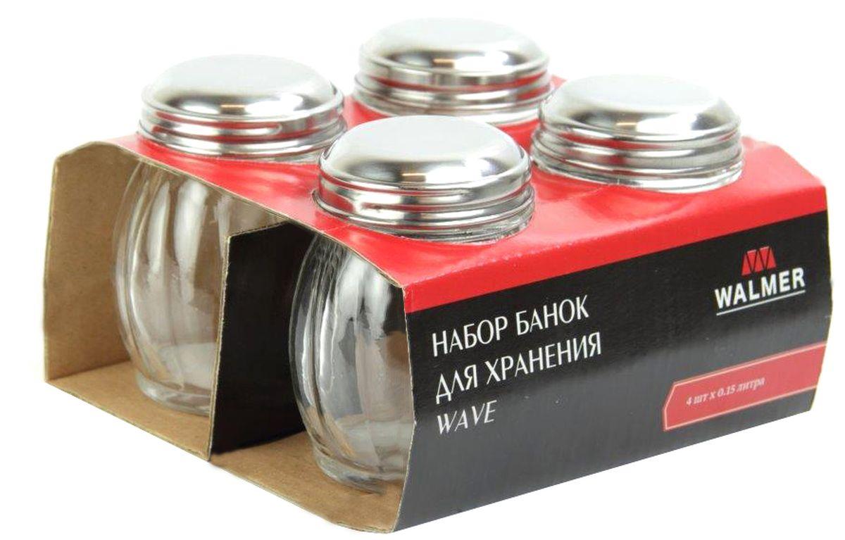 Набор банок для хранения Walmer Wave, 150 мл, 4 штW05222015Набор Walmer Wave состоит из 4 банок для хранения. Изделия выполнены из высококачественного прозрачного стекла и снабжены стальными крышками. Набор подходит для специй, чая, кофе, меда, сахара и соли и многого другого. Набор стильно дополнит интерьер кухни и станет замечательным и полезным подарком для ваших родных и близких. Посуда пригодна для мытья в посудомоечной машине. Диаметр баночки (по верхнему краю): 14 см. Высота баночки (без учета крышки): 8,5 см.