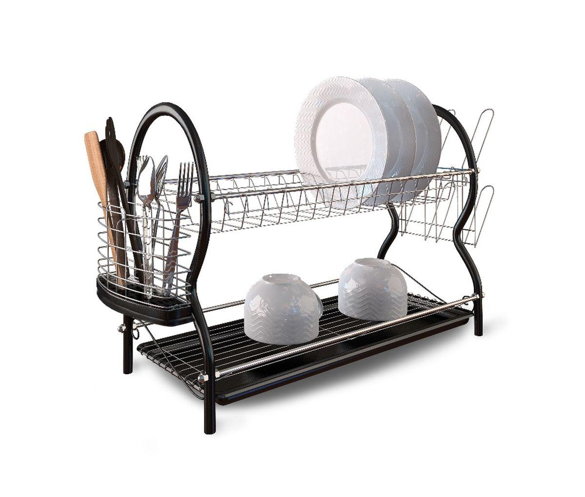 Сушилка для посуды Walmer, двухъярусная, с поддоном, 55,5 x 23,5 x 38,5 смW14552439Двухъярусная сушилка Walmer, изготовленная из стали, представляет собой решетку с ячейками для посуды и держателями для стаканов и столовых приборов. Изделие оснащено пластиковым поддоном для стекания воды. Сушилка не займет много места на вашей кухне. Вы сможете разместить на ней большое количество предметов. Компактные размеры и оригинальный дизайн выделяют эту сушилку из ряда подобных. Размер сушилки: 55,5 x 23,5 x 38,5 см.