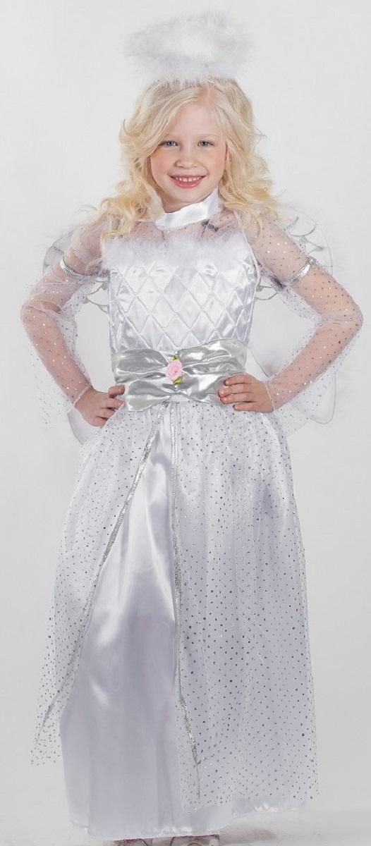 Карнавалия Карнавальный костюм для девочки Ангел размер 12285140Яркий детский карнавальный костюм Ангел позволит вашей малышке быть самой красивой девочкой на детском утреннике, бале-маскараде или карнавале. Костюм состоит из платья, ободка с нимбом и крылышек. Длинное белое платье с прозрачными рукавами и таким же верхним подолом декорировано серебристыми блестками. Лиф дополнен блестящей вставкой с цветочками и белой опушкой. Платье застегивается сзади на молнию. Ободок для волос дополнен белым пушистым нимбом. Крылья выполнены из настоящих белых перьев. Крылышки одеваются на плечи девочки и крепятся удобными резинками. Размер крыльев: 35 см х 41 см. Такой карнавальный костюм привлечет внимание друзей вашей малышки и подчеркнет её индивидуальность. Веселое настроение и масса положительных эмоций будут обеспечены! Ткань: 100% полиэстер. Костюм рассчитан на рост ребенка 122 см.