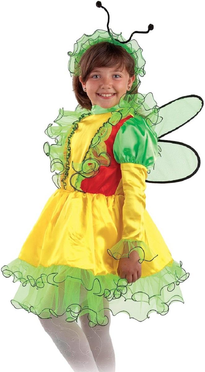 Карнавалия Карнавальный костюм для девочки Бабочка размер 13485001Яркий детский карнавальный костюм Бабочка позволит вашей малышке быть самой красивой девочкой на детском утреннике, бале-маскараде или карнавале. Костюм состоит из платья, повязки на голову и крылышек. Яркое платье выполнено из ткани желтого цвета с красными и зеленым вставками. Платье декорировано тесьмой и прозрачными рюшами. Застегивается платье сзади на молнию. Светло-зеленая повязка на голову собрана на резинке и декорирована черными усиками, которые могут гнуться. Прозрачные крылышки усыпаны мелкими блестками. Крылышки одеваются на плечи девочки и крепятся удобными резинками. Размер крыльев: 40 см х 46 см. Такой карнавальный костюм привлечет внимание друзей вашей малышки и подчеркнет её индивидуальность. Веселое настроение и масса положительных эмоций будут обеспечены! Ткань: 100% полиэстер. Костюм рассчитан на рост ребенка 134 см.