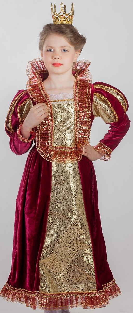 Карнавалия Карнавальный костюм для девочки Королева цвет бордовый размер 13485017