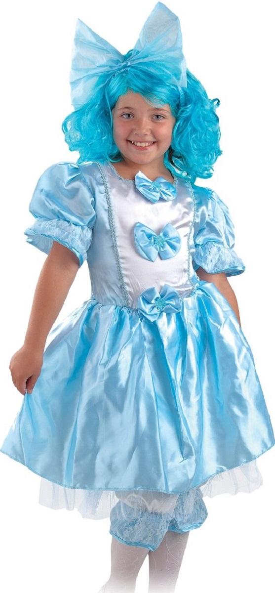 Карнавалия Карнавальный костюм для девочки Мальвина размер 13485020Яркий детский карнавальный костюм Мальвина тонко и изысканно выделит вашу девочку среди Снежинок тонко и изысканно на детском утреннике, бале-маскараде или карнавале. Добрый и положительный персонаж, из любимой сказки, может вызывать только положительные эмоции. Голубое платье, выполненное из атласного материала, сзади на спинке застегивается на застежку-молнию. Платье имеет рукава-фонарики. Полочка платья декорирована бантиками, а низ юбки оформлен воланом из прозрачной ткани. Панталоны белого цвета с прозрачными голубыми воланами, как на платье. В комплекте имеется парик с длинными голубыми волосами и большой бант на заколке. Такой карнавальный костюм привлечет внимание друзей вашей малышки и подчеркнет её индивидуальность. Веселое настроение и масса положительных эмоций будут обеспечены! Ткань: 100% полиэстер. Костюм рассчитан на рост ребенка 134 см.