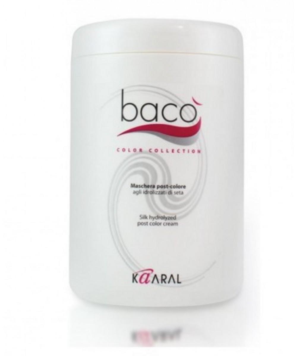 Kaaral Маска-кондиционер для окрашенных волос Baco Silk Hydrolized post color cream, 1000 мл1061Восстанавливающая маска, делающая волосы максимально блестящими и эластичными, сохраняет цвет. Кислый уровень РН нейтрали- зует щелочное воздействие красителя. Одновременный процесс запаивания чешуйчатого слоя предотвращает вымывание цветовых пигментов.
