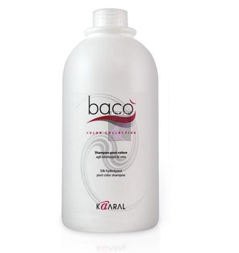 Kaaral Шампунь для окрашенных волос Baco Silk Hydrolized Post Color Shampoo, 1000 мл1062Идеально удаляет остатки красителя с поверхности кожи головы, нейтрализуя и вырав- нивая нормальный уровень РН. Шампунь с гидролизатами шелка нейтрализует щелочной уровень РН волос и кожи после окрашивания перманентными красителями, стабилизирует цвет и ухаживает за окрашенными волосами. Предотвращает выцветание и вымывание цветовых пигментов изнутри волоса, придает дополнительный блеск.