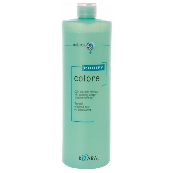 Kaaral Шампунь для окрашенных волос Purify Colore Shampoo, 1000 мл1214Высокоэффективный слабокислый PH шампунь для окрашенных волос. Бережно закрывает кутикулу, надолго сохраняя цветовые пигменты внутри волос, нейтрализует остатки щелочи и перекиси, что позволяет сохранить яркость цвета и блеск окрашенных волос. Эксклюзивный комплекс питательных веществ на основе плодов и листьев ежевики оказывает интенсивное ухаживающее воздействие улучшая структуру волос.