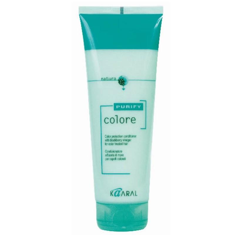 Kaaral Кондиционер для окрашенных волос Purify Colore Conditioner, 250 мл1215SPA – кондиционер для окрашенных волос на основе экстракта листьев и плодов ежевики идеально ухаживает за кутикулой волоса, предупреждая вымывание цветовых пигментов внутри волос. Делает волосы гибкими и эластичными. Максимально усиливает блеск и сияние окрашенных волос. Облегчает расчесывание и обеспечивает защиту волос от неблагоприятного воздействия окружающей среды. Обладает благоприятным ароматерапевтическим действием.