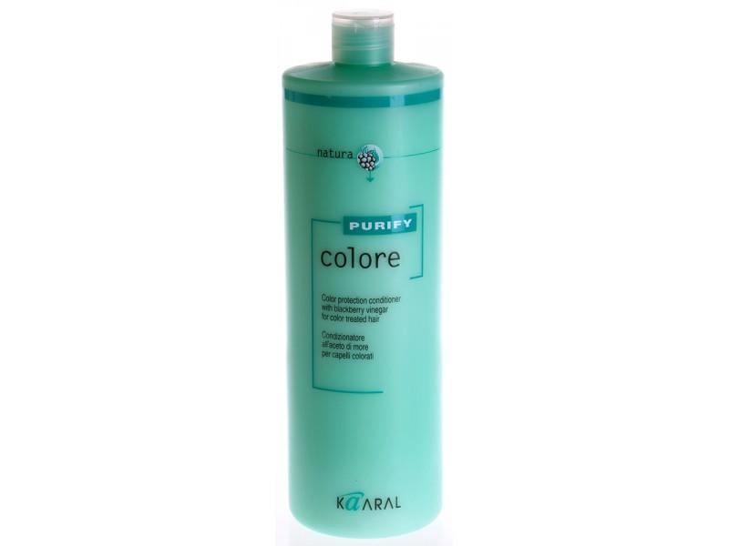 Kaaral Кондиционер для окрашенных волос Purify Colore Conditioner, 1000 мл1216SPA – кондиционер для окрашенных волос на основе экстракта листьев и плодов ежевики идеально ухаживает за кутикулой волоса, предупреждая вымывание цветовых пигментов внутри волос. Делает волосы гибкими и эластичными. Максимально усиливает блеск и сияние окрашенных волос. Облегчает расчесывание и обеспечивает защиту волос от неблагоприятного воздействия окружающей среды. Обладает благоприятным ароматерапевтическим действием.