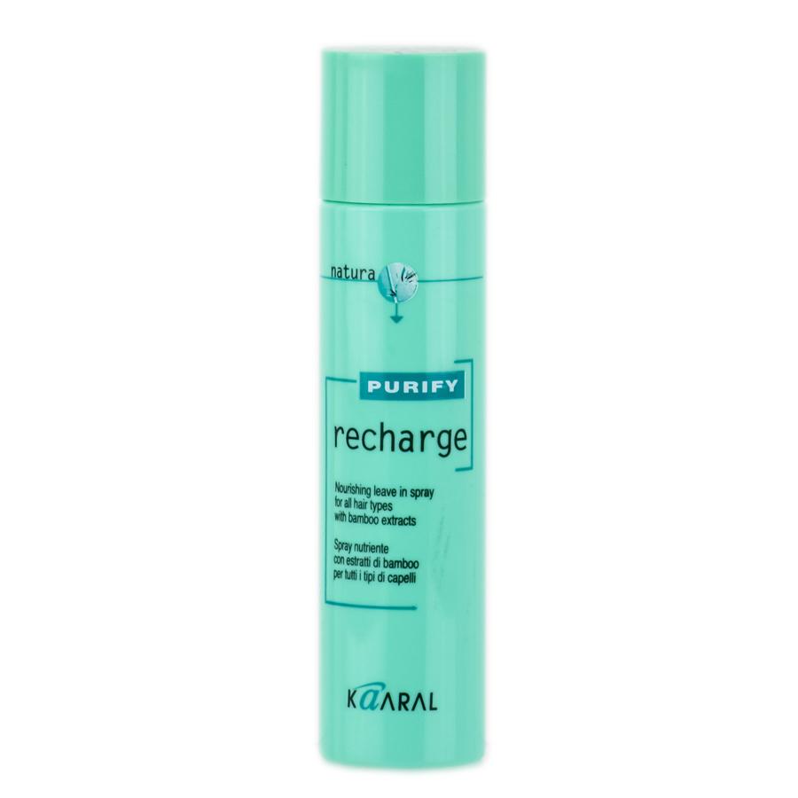 Kaaral Спрей для волос с экстрактом бамбука Purify Recharge, 100 млkaar1244Спрей для волос с экстрактом бамбука Kaaral Recharge Purify - питательный спрей для всех типов волос. Спрей содержит экстракт бамбука, масло сладкого миндаля, пантенол и алоэ барбаденсис. Формула спрея создана по технологии NexxuSphere - микросферы, содержащие питательные вещества, антиоксиданты и УФ-протекторы, обладают свойством замедленного высвобождения, что позволяет продлить питательный эффект.