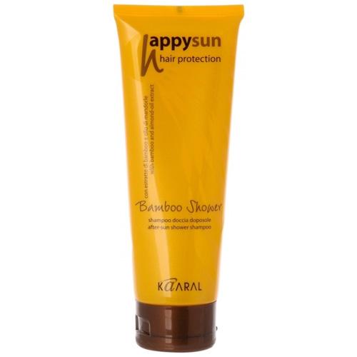 Kaaral Шампунь для волос и тела Happy Sun Bamboo Shower, 250 млkaaral1035Хорошо смывает остатки соли и хлора с поверхности кожи и волос. Этот шампунь можно применять как гель для душа.