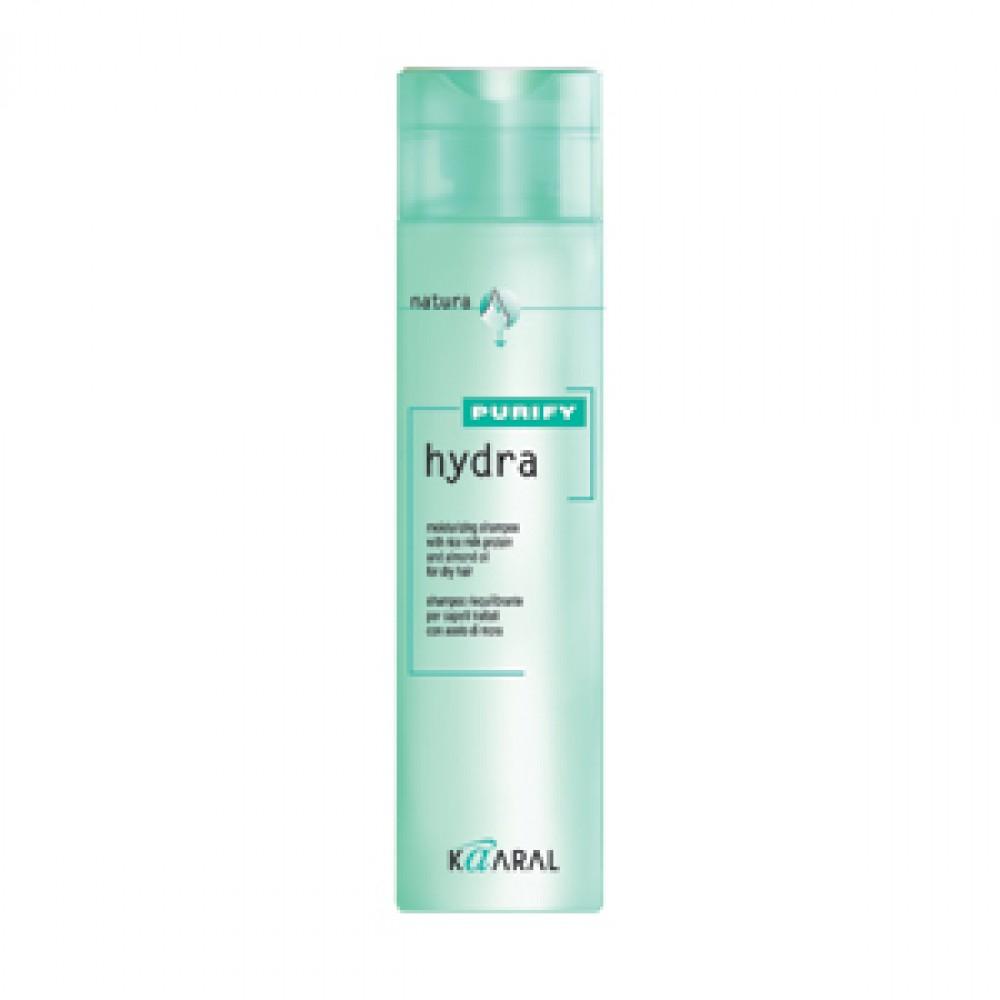 Kaaral Увлажняющий шампунь для сухих волос Purify Hydra Shampoo, 250 млkaaral1201Шампунь бережно очищает и интенсивно увлажняет сухие волосы, сохраняет природный гидролипидный баланс. Создан на основе экстрактов ромашки, масла семян сладкого миндаля и протеинов риса. Обладает успокаивающим и антисептическим действием. Питает волосы по всей длине, придавая мягкость и великолепный блеск.
