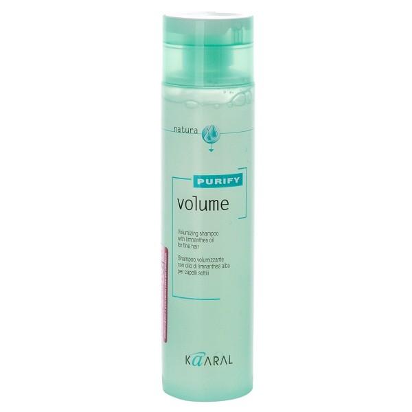 Kaaral Шампунь-объем для тонких волос Purify Volume Shampoo, 250 млkaaral1205Нейтральный PH шампунь, на катионовой основе. Обеспечивает деликатный уход. Обладает эффектом двойного действия. Комбинация масла семян пенника лугового, состав которого обогащен жирными кислотами и гидролизованного коллагена, способствует восстановлению эластичности волос и придает им дополнительный объем, силу и блеск. Не содержит силикон. Не утяжеляет волосы.