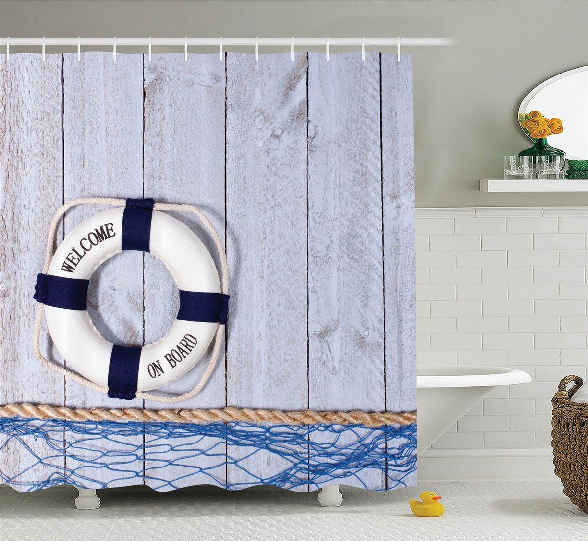 Штора для ванной комнаты Magic Lady Спасательный круг, 180 х 200 смшв_10831Штора Magic Lady Спасательный круг, изготовленная из высококачественного сатена (полиэстер 100%), отлично дополнит любой интерьер ванной комнаты. При изготовлении используются специальные гипоаллергенные чернила для прямой печати по ткани, безопасные для человека. В комплекте: 1 штора, 12 крючков. Обращаем ваше внимание, фактический цвет изделия может незначительно отличаться от представленного на фото.