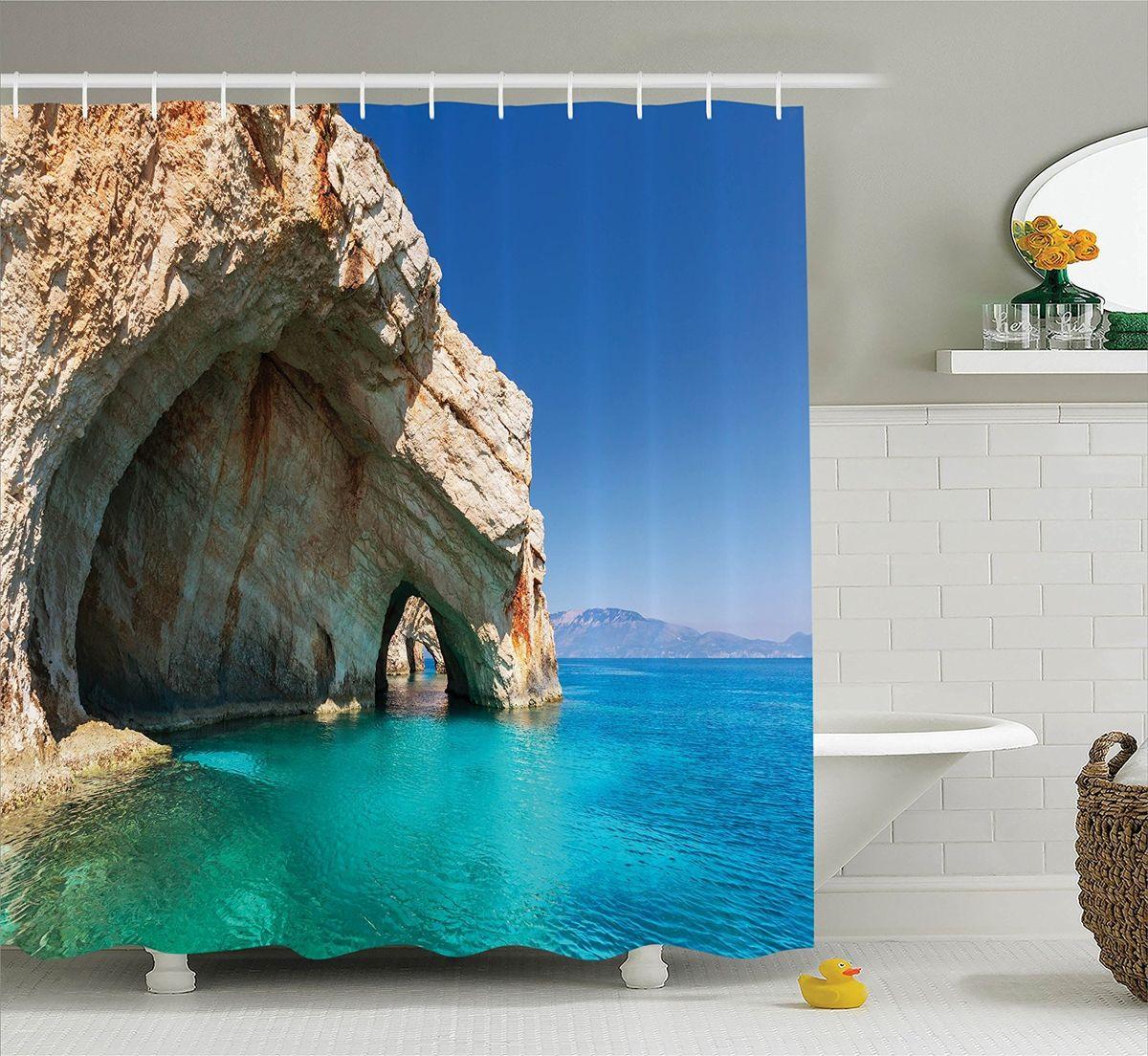 Штора для ванной комнаты Magic Lady Морская пещера, 180 х 200 смшв_10902Штора Magic Lady Морская пещера, изготовленная из высококачественного сатена (полиэстер 100%), отлично дополнит любой интерьер ванной комнаты. При изготовлении используются специальные гипоаллергенные чернила для прямой печати по ткани, безопасные для человека. В комплекте: 1 штора, 12 крючков. Обращаем ваше внимание, фактический цвет изделия может незначительно отличаться от представленного на фото.