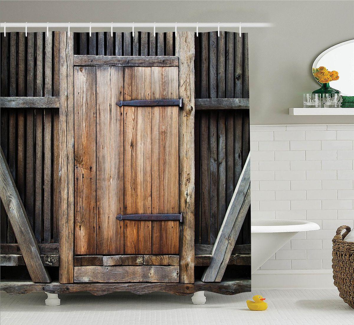 Штора для ванной комнаты Magic Lady Деревянная дверь, 180 х 200 смшв_10999Штора Magic Lady Деревянная дверь, изготовленная из высококачественного сатена (полиэстер 100%), отлично дополнит любой интерьер ванной комнаты. При изготовлении используются специальные гипоаллергенные чернила для прямой печати по ткани, безопасные для человека. В комплекте: 1 штора, 12 крючков. Обращаем ваше внимание, фактический цвет изделия может незначительно отличаться от представленного на фото.