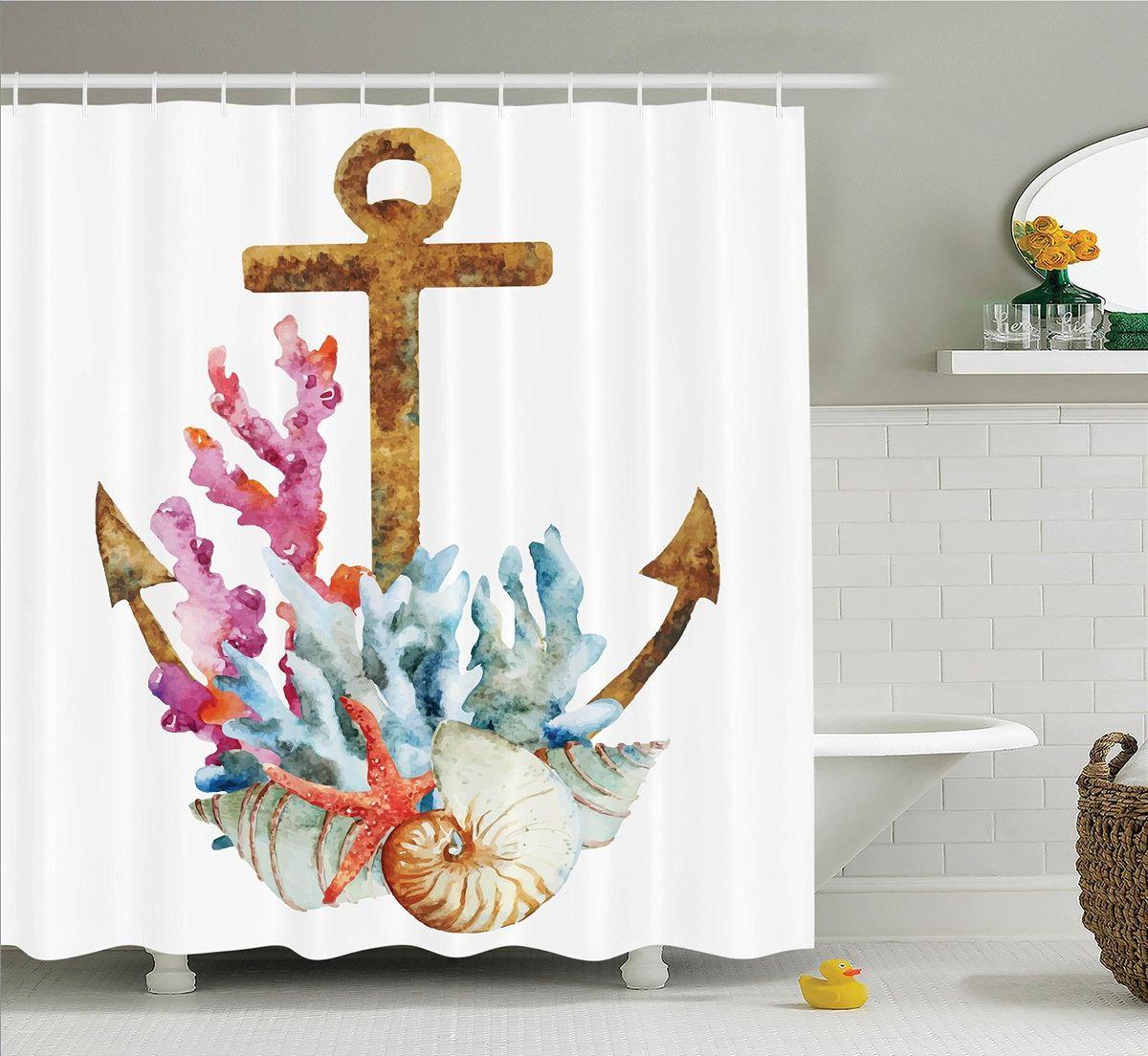 Штора для ванной комнаты Magic Lady Якорь, кораллы и ракушки, 180 х 200 смшв_11058Штора Magic Lady Якорь, кораллы и ракушки, изготовленная из высококачественного сатена (полиэстер 100%), отлично дополнит любой интерьер ванной комнаты. При изготовлении используются специальные гипоаллергенные чернила для прямой печати по ткани, безопасные для человека. В комплекте: 1 штора, 12 крючков. Обращаем ваше внимание, фактический цвет изделия может незначительно отличаться от представленного на фото.