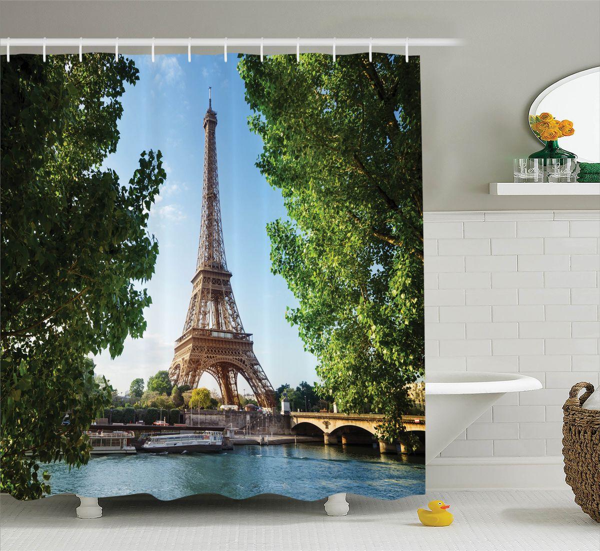 Штора для ванной комнаты Magic Lady Эйфелева башня среди деревьев, 180 х 200 смшв_11335Штора Magic Lady Эйфелева башня среди деревьев, изготовленная из высококачественного сатена (полиэстер 100%), отлично дополнит любой интерьер ванной комнаты. При изготовлении используются специальные гипоаллергенные чернила для прямой печати по ткани, безопасные для человека. В комплекте: 1 штора, 12 крючков. Обращаем ваше внимание, фактический цвет изделия может незначительно отличаться от представленного на фото.