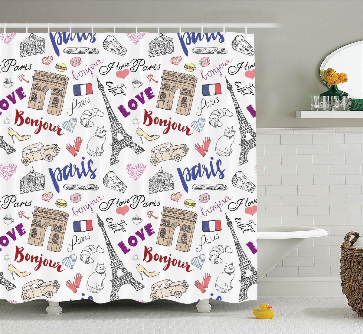 Штора для ванной комнаты Magic Lady Bonjour, Paris!, 180 х 200 смшв_11344Штора Magic Lady Bonjour, Paris!, изготовленная из высококачественного сатена (полиэстер 100%), отлично дополнит любой интерьер ванной комнаты. При изготовлении используются специальные гипоаллергенные чернила для прямой печати по ткани, безопасные для человека. В комплекте: 1 штора, 12 крючков. Обращаем ваше внимание, фактический цвет изделия может незначительно отличаться от представленного на фото.