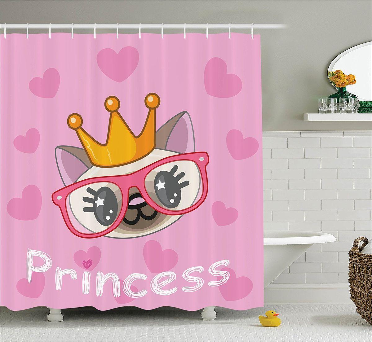 Штора для ванной комнаты Magic Lady Принцесса кошек, 180 х 200 смшв_11984Штора Magic Lady Принцесса кошек, изготовленная из высококачественного сатена (полиэстер 100%), отлично дополнит любой интерьер ванной комнаты. При изготовлении используются специальные гипоаллергенные чернила для прямой печати по ткани, безопасные для человека. В комплекте: 1 штора, 12 крючков. Обращаем ваше внимание, фактический цвет изделия может незначительно отличаться от представленного на фото.