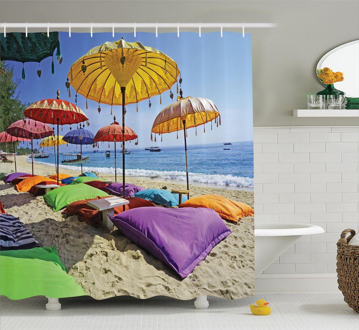 Штора для ванной комнаты Magic Lady Зонтики на пляже, 180 х 200 смшв_12253Штора Magic Lady Зонтики на пляже, изготовленная из высококачественного сатена (полиэстер 100%), отлично дополнит любой интерьер ванной комнаты. При изготовлении используются специальные гипоаллергенные чернила для прямой печати по ткани, безопасные для человека. В комплекте: 1 штора, 12 крючков. Обращаем ваше внимание, фактический цвет изделия может незначительно отличаться от представленного на фото.