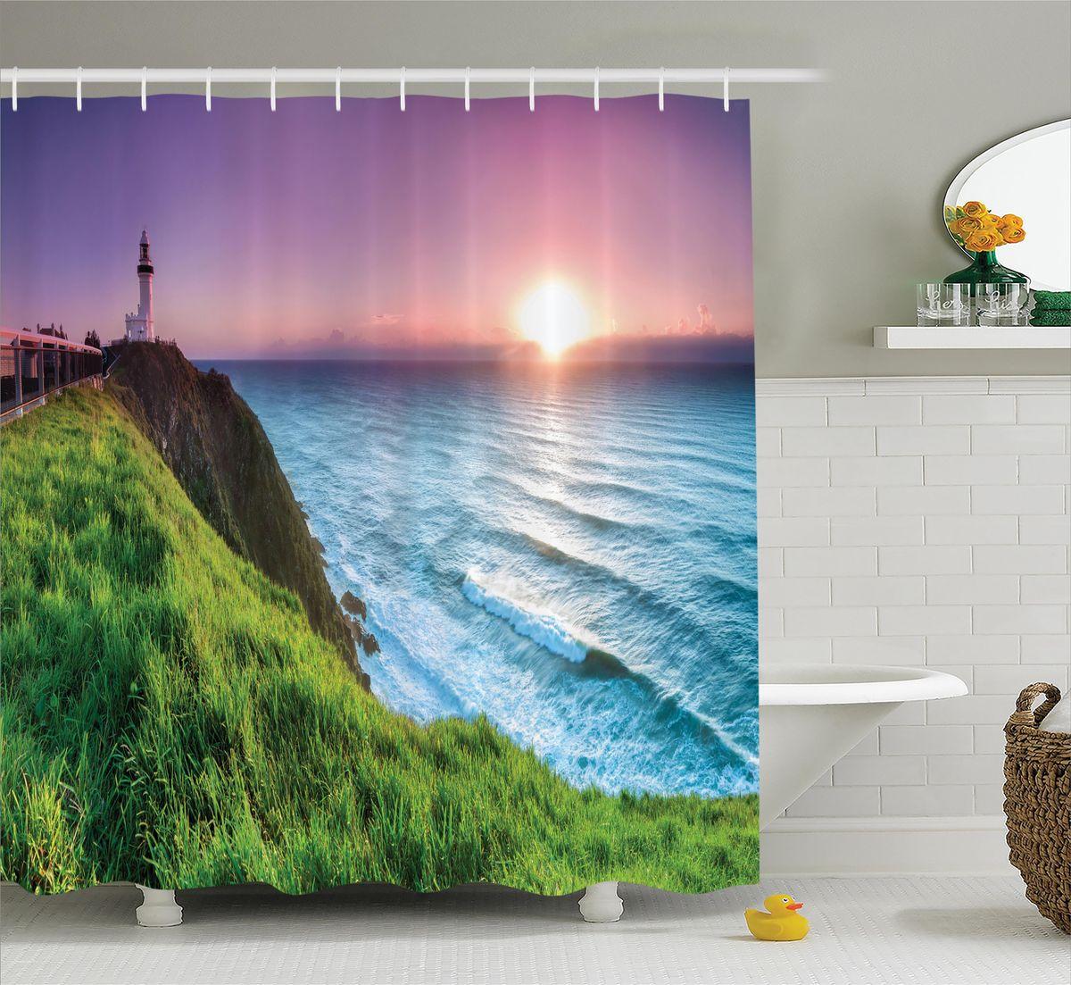 Штора для ванной комнаты Magic Lady Зеленый берег на закате, 180 х 200 смшв_12370Штора Magic Lady Зеленый берег на закате, изготовленная из высококачественного сатена (полиэстер 100%), отлично дополнит любой интерьер ванной комнаты. При изготовлении используются специальные гипоаллергенные чернила для прямой печати по ткани, безопасные для человека. В комплекте: 1 штора, 12 крючков. Обращаем ваше внимание, фактический цвет изделия может незначительно отличаться от представленного на фото.