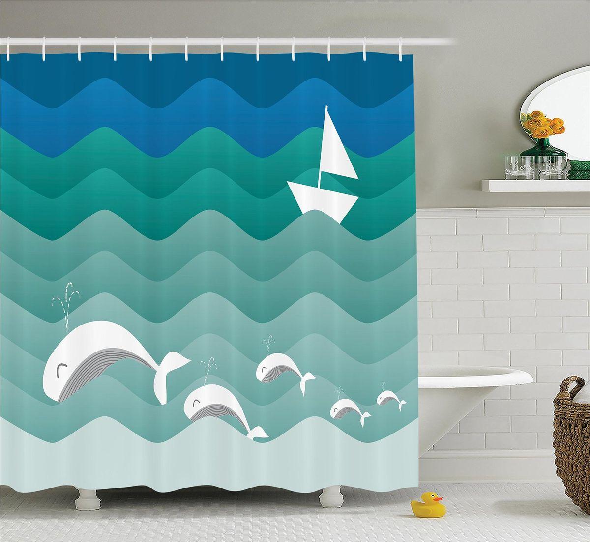 Штора для ванной комнаты Magic Lady Киты в зеленых волнах, 180 х 200 смшв_12545Штора Magic Lady Киты в зеленых волнах, изготовленная из высококачественного сатена (полиэстер 100%), отлично дополнит любой интерьер ванной комнаты. При изготовлении используются специальные гипоаллергенные чернила для прямой печати по ткани, безопасные для человека. В комплекте: 1 штора, 12 крючков. Обращаем ваше внимание, фактический цвет изделия может незначительно отличаться от представленного на фото.