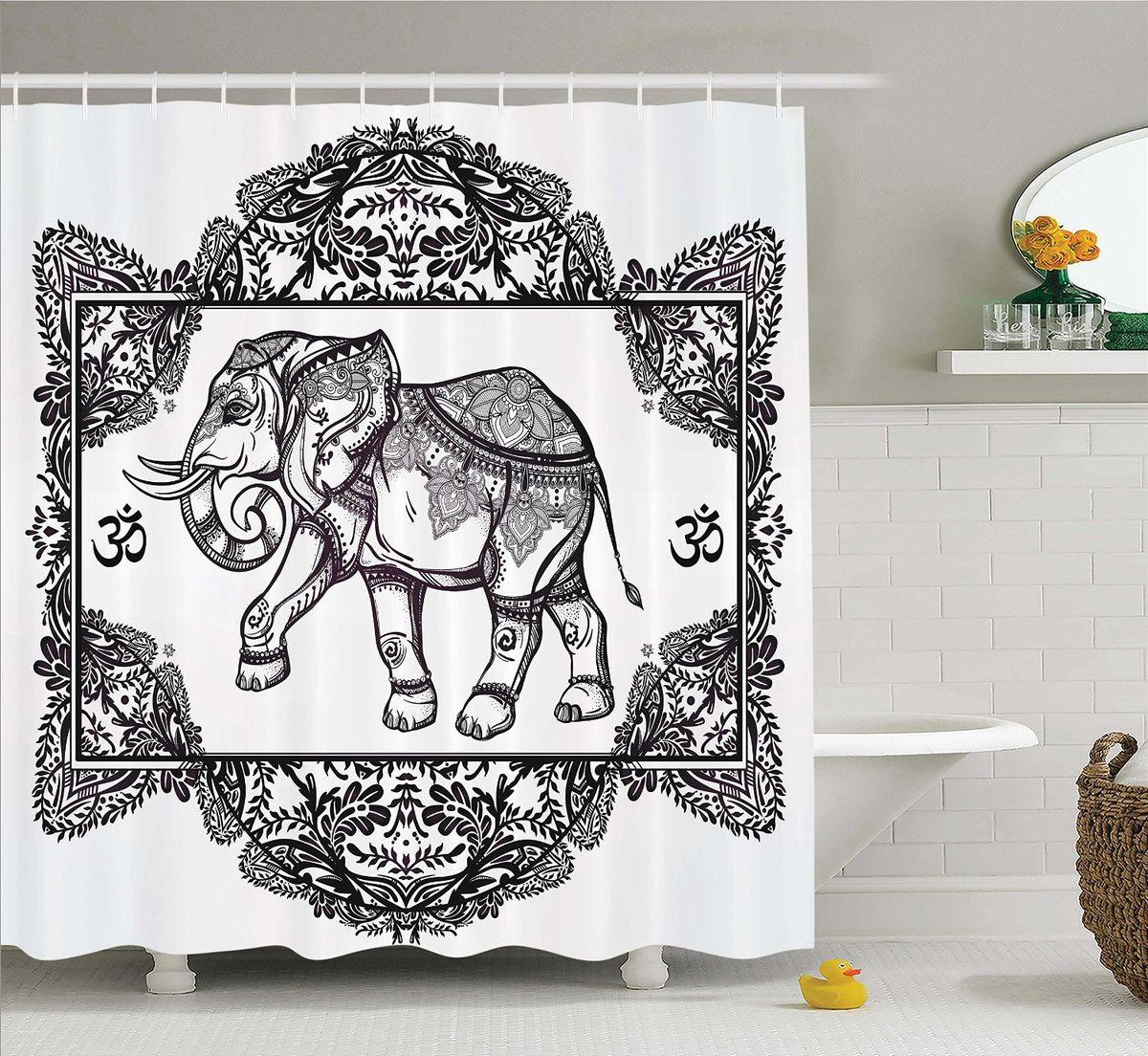 Штора для ванной комнаты Magic Lady Узорчатый слон, 180 х 200 смшв_12634Штора Magic Lady Узорчатый слон, изготовленная из высококачественного сатена (полиэстер 100%), отлично дополнит любой интерьер ванной комнаты. При изготовлении используются специальные гипоаллергенные чернила для прямой печати по ткани, безопасные для человека. В комплекте: 1 штора, 12 крючков. Обращаем ваше внимание, фактический цвет изделия может незначительно отличаться от представленного на фото.