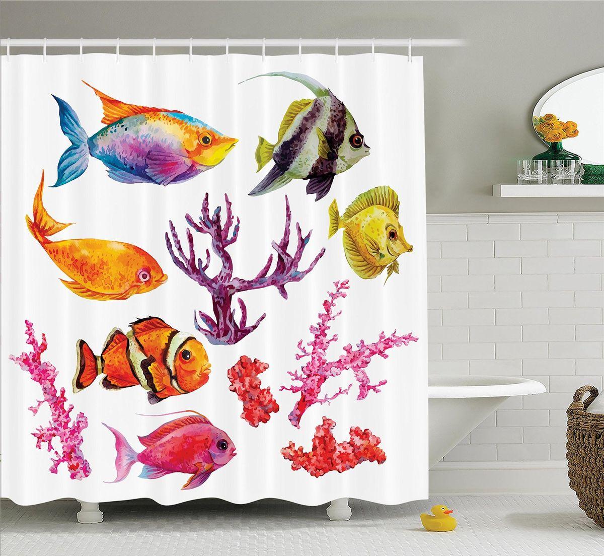 Штора для ванной комнаты Magic Lady Рыбы и кораллы, 180 х 200 смшв_14607Штора Magic Lady Рыбы и кораллы, изготовленная из высококачественного сатена (полиэстер 100%), отлично дополнит любой интерьер ванной комнаты. При изготовлении используются специальные гипоаллергенные чернила для прямой печати по ткани, безопасные для человека. В комплекте: 1 штора, 12 крючков. Обращаем ваше внимание, фактический цвет изделия может незначительно отличаться от представленного на фото.