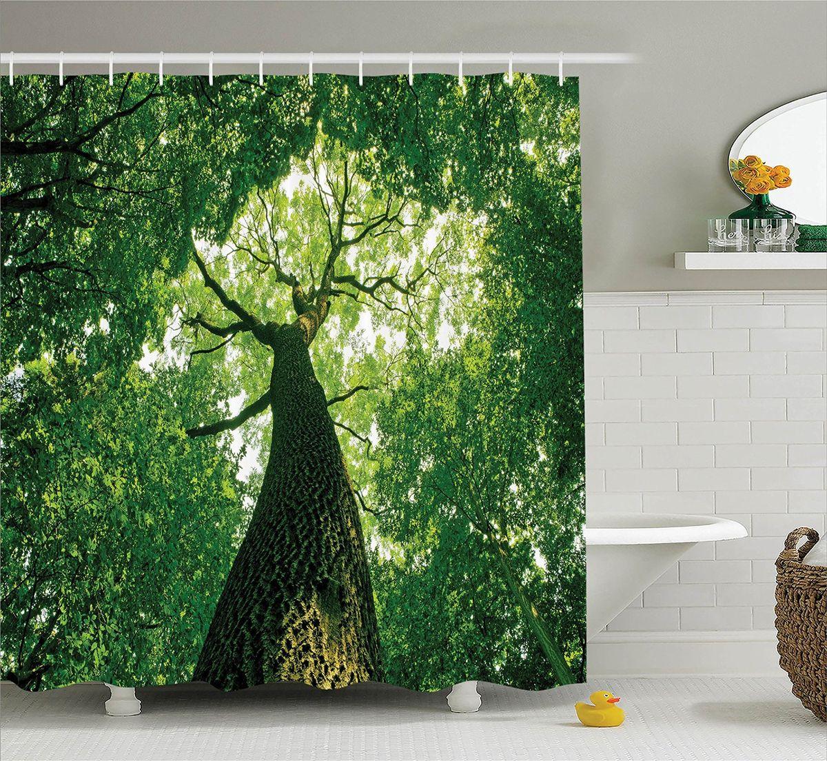 Штора для ванной комнаты Magic Lady Высокое дерево, 180 х 200 смшв_15215Штора Magic Lady Высокое дерево, изготовленная из высококачественного сатена (полиэстер 100%), отлично дополнит любой интерьер ванной комнаты. При изготовлении используются специальные гипоаллергенные чернила для прямой печати по ткани, безопасные для человека. В комплекте: 1 штора, 12 крючков. Обращаем ваше внимание, фактический цвет изделия может незначительно отличаться от представленного на фото.