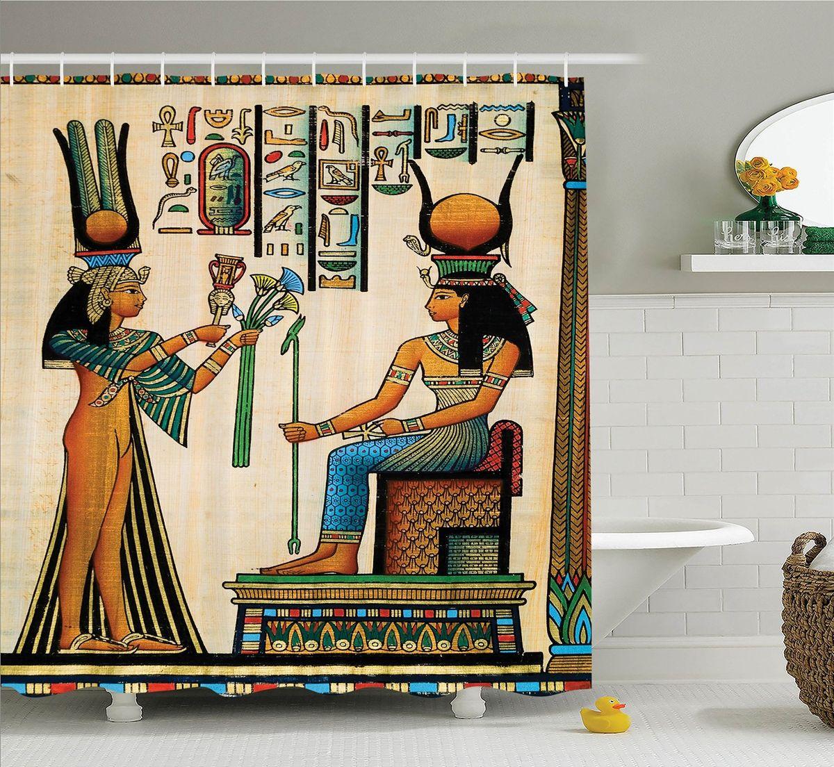 Штора для ванной комнаты Magic Lady Египетский папирус, 180 х 200 смшв_15229Штора Magic Lady Египетский папирус, изготовленная из высококачественного сатена (полиэстер 100%), отлично дополнит любой интерьер ванной комнаты. При изготовлении используются специальные гипоаллергенные чернила для прямой печати по ткани, безопасные для человека. В комплекте: 1 штора, 12 крючков. Обращаем ваше внимание, фактический цвет изделия может незначительно отличаться от представленного на фото.