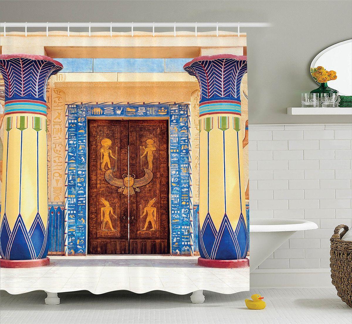 Штора для ванной комнаты Magic Lady Двери в египетском стиле, 180 х 200 смшв_15238Штора Magic Lady Двери в египетском стиле, изготовленная из высококачественного сатена (полиэстер 100%), отлично дополнит любой интерьер ванной комнаты. При изготовлении используются специальные гипоаллергенные чернила для прямой печати по ткани, безопасные для человека. В комплекте: 1 штора, 12 крючков. Обращаем ваше внимание, фактический цвет изделия может незначительно отличаться от представленного на фото.