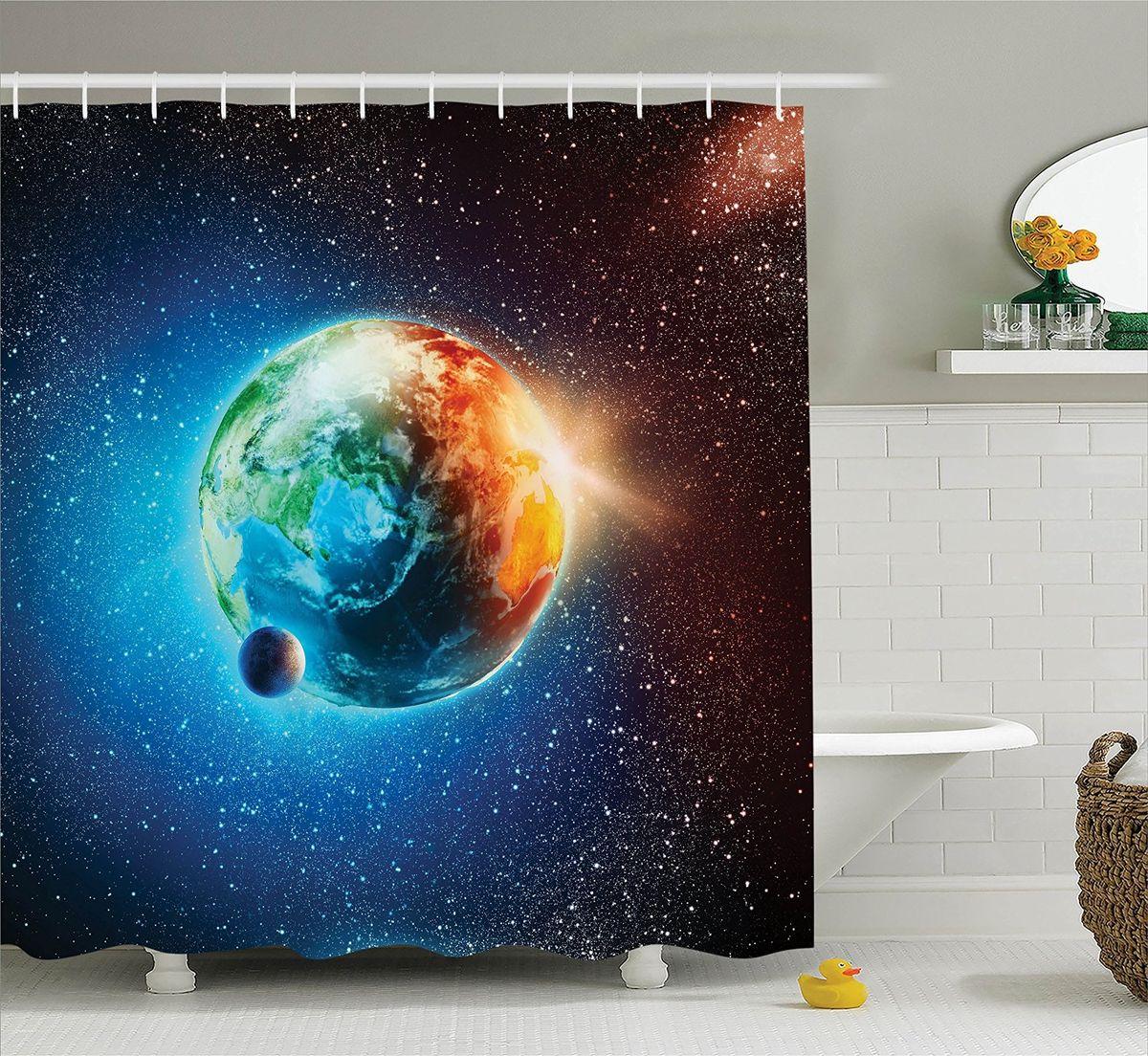 Штора для ванной комнаты Magic Lady Живая планета, 180 х 200 смшв_15664Штора Magic Lady Живая планета, изготовленная из высококачественного сатена (полиэстер 100%), отлично дополнит любой интерьер ванной комнаты. При изготовлении используются специальные гипоаллергенные чернила для прямой печати по ткани, безопасные для человека. В комплекте: 1 штора, 12 крючков. Обращаем ваше внимание, фактический цвет изделия может незначительно отличаться от представленного на фото.