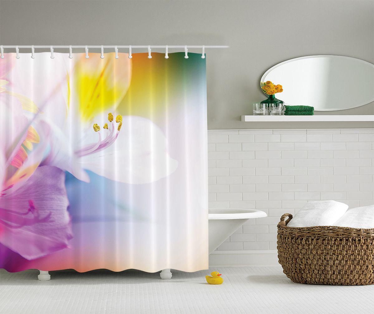 Штора для ванной комнаты Magic Lady Кадр лилии, 180 х 200 смшв_2627Штора Magic Lady PКадр лилии, изготовленная из высококачественного сатена (полиэстер 100%), отлично дополнит любой интерьер ванной комнаты. При изготовлении используются специальные гипоаллергенные чернила для прямой печати по ткани, безопасные для человека. В комплекте: 1 штора, 12 крючков. Обращаем ваше внимание, фактический цвет изделия может незначительно отличаться от представленного на фото.