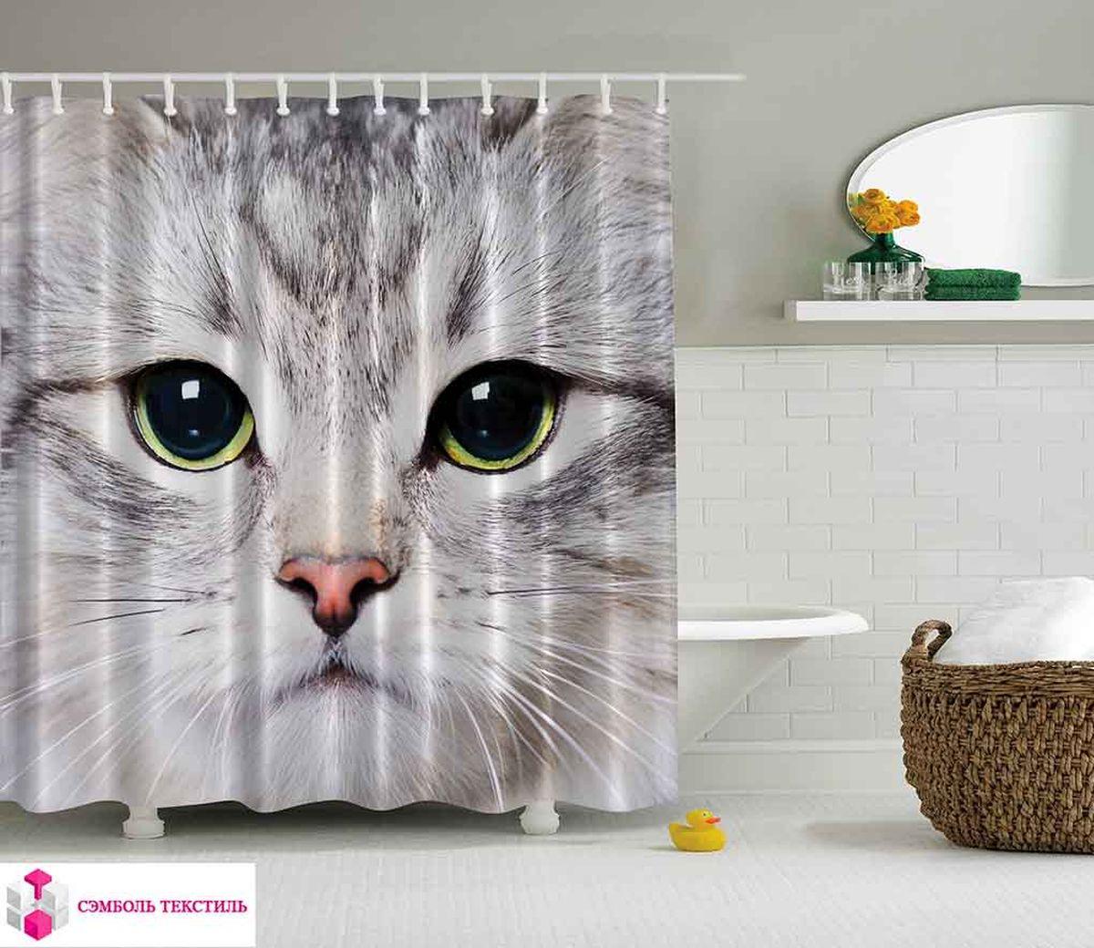 Штора для ванной комнаты Magic Lady Серый кот, 180 х 200 смшв_2736Штора Magic Lady Серый кот, изготовленная из высококачественного сатена (полиэстер 100%), отлично дополнит любой интерьер ванной комнаты. При изготовлении используются специальные гипоаллергенные чернила для прямой печати по ткани, безопасные для человека. В комплекте: 1 штора, 12 крючков. Обращаем ваше внимание, фактический цвет изделия может незначительно отличаться от представленного на фото.