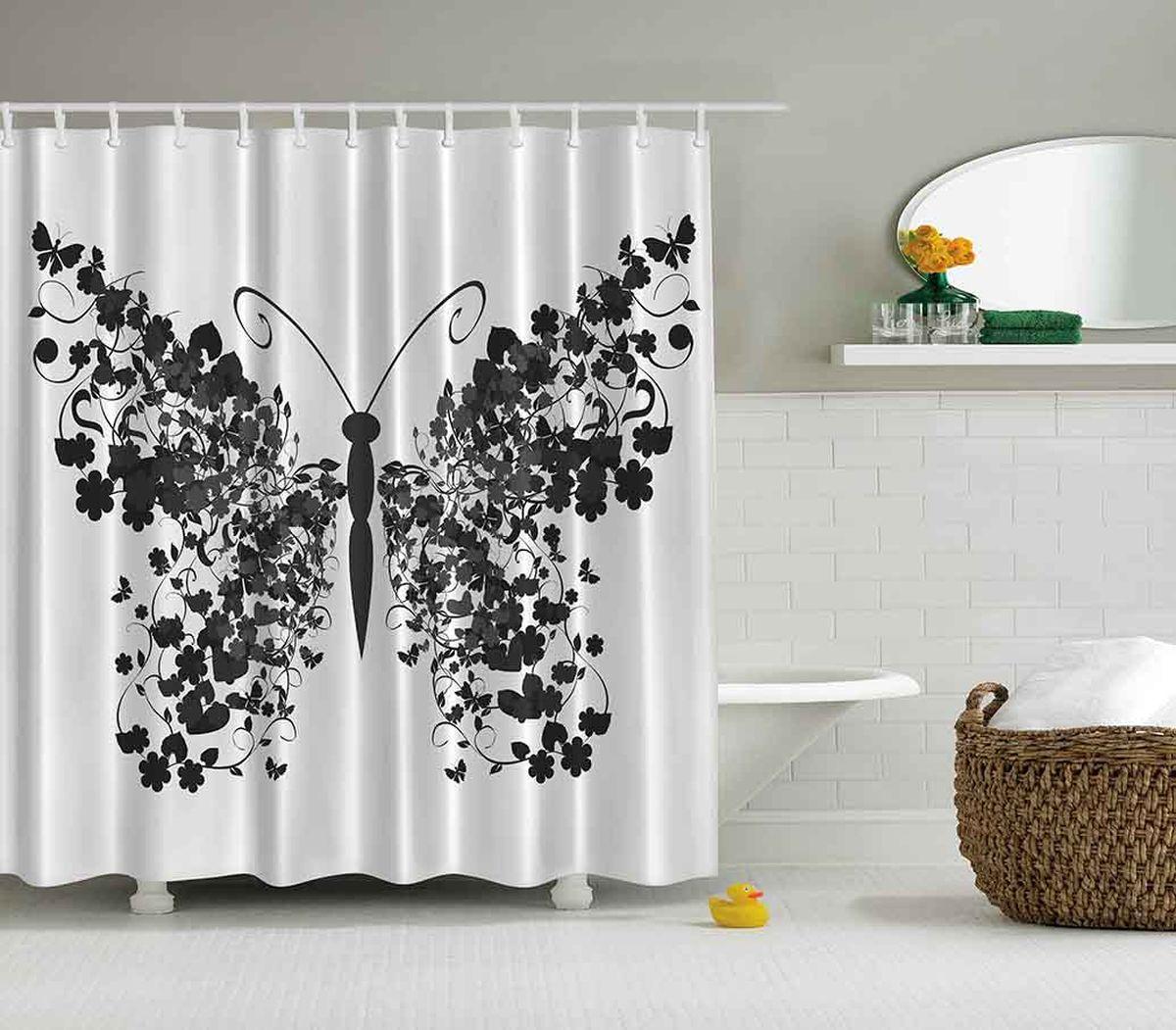 Штора для ванной комнаты Magic Lady Черная бабочка, 180 х 200 смшв_2901Штора Magic Lady Черная бабочка, изготовленная из высококачественного сатена (полиэстер 100%), отлично дополнит любой интерьер ванной комнаты. При изготовлении используются специальные гипоаллергенные чернила для прямой печати по ткани, безопасные для человека. В комплекте: 1 штора, 12 крючков. Обращаем ваше внимание, фактический цвет изделия может незначительно отличаться от представленного на фото.