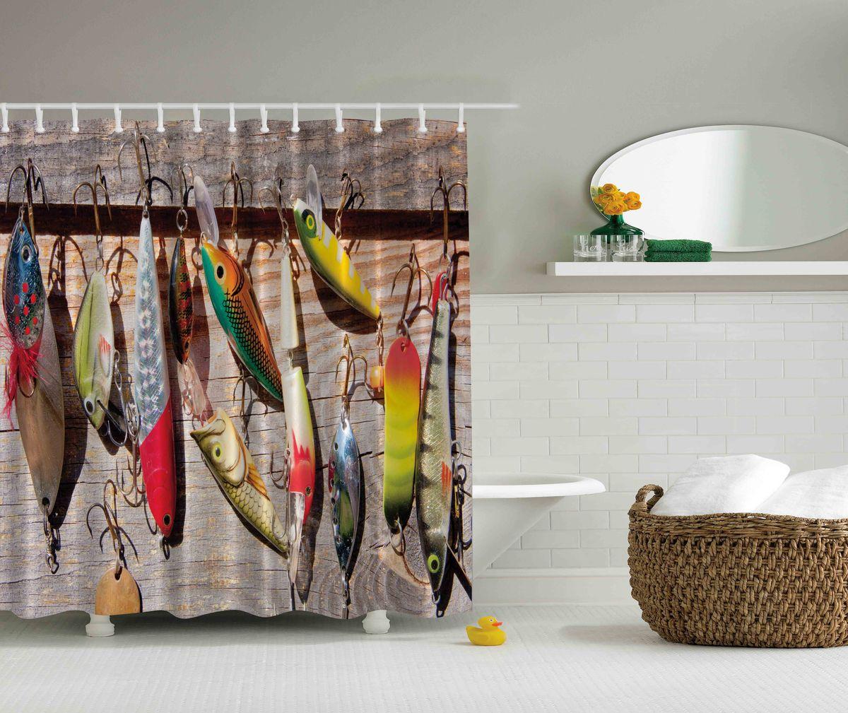 Штора для ванной комнаты Magic Lady Разноцветные блесны, 180 х 200 смшв_4643Штора Magic Lady Разноцветные блесны, изготовленная из высококачественного сатена (полиэстер 100%), отлично дополнит любой интерьер ванной комнаты. При изготовлении используются специальные гипоаллергенные чернила для прямой печати по ткани, безопасные для человека. В комплекте: 1 штора, 12 крючков. Обращаем ваше внимание, фактический цвет изделия может незначительно отличаться от представленного на фото.